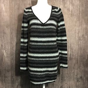 Free People Striped V-Neck Knit Wool Blend Sweater